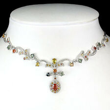 """82 CTS!! DELUXE! NATURAL AAA FANCY MULTI COLOR SAPPHIRE SILVER NECKLACE 17 1/2"""""""
