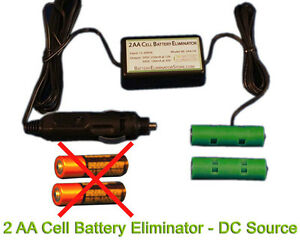 AA Battery Eliminator Power Adapter - 3VDC 2AA -General Aviation 12/24VDC source