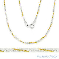 925 Sterling Silver 14k Yellow Gold Twist-Rope Boston Link Chain Necklace Italy