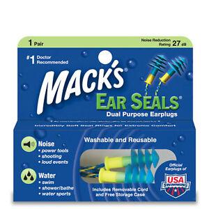 Mack's EAR SEALS Swimming Noise Shoot Nascar EARPLUG Washable Detachable Cord 11