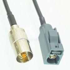 "Fakra SMB G 7031  jack to IEC PAL RCA-TV female 6"" RG174 pigtail Remote contol"