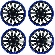 "14"" Inch Lightning Sports Wheel Cover Trim Set Black With Blue Ring Rims (4Pcs)"