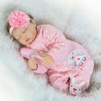 "22"" Reborn Baby Doll Realistic Handmade Silicone Vinyl Sleeping Newborn Girl"
