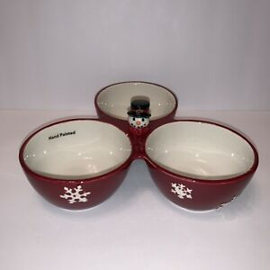 St. Nicholas Square Yuletide Three Section Divided Nut Candy Bowl Holiday Dish