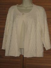 Classic Elements Cream 3/4 Sleeve Sweater Open Cardigan Size MP #CL70