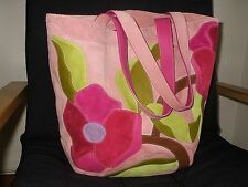 NEW COACH CLASSIC POPPY FOR PEACE FINEST SUEDE PINK FLOWER XL TRAVEL TOTE BAG