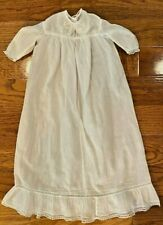 "Lovely Vintage White Batiste Handmade Doll Gown Lace Embroidery 22"" Long"