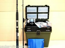 PINK Sea Fishing Boat Kit with Seat & Tackle Box Fladen Rod Reel Tackle Rigs set