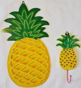 2 Pc Pineapple Hanging Decor Key Holder Yellow & Green Kitchen Summer Wall Decor