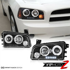 2006-2010 Dodge CHARGER Halo Angel Eye LED Projector Black Headlight Signal Lamp