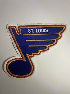 """ST LOUIS BLUES LARGE 1990 STYLE PATCH 8"""" X 9"""" IRON ON OR SEW ON"""