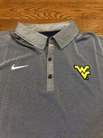 Mens Size Small Nike Polo Shirt WVU Mountaineers Gray/Blue West Virginia