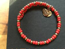 Santorini Beaded Gold Wrap Bracelet 💎 New Alex and Ani Vintage 66 Red