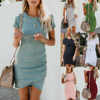 Women Summer Short Sleeve/Sleeveless Bodycon Dress Tops Mini T-shirt Sundress