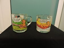 Vintage McDonald's Garfield Odie Glass Coffee Mugs (2) Jim Davis 1978