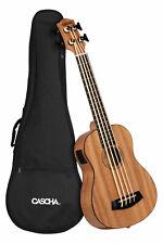 Cascha Bass Mahagoni Ukulele Piezo-Tonabnehmer Tuner 3-Band EQ Uke Gigbag Pickup