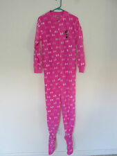 NEW WOMEN'S FLEECE DISNEY MINNIE MOUSE PINK BOW ONE PIECE FOOTIE/FOOTED PAJAMAS