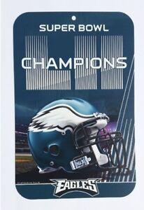 NFL PHILADELPHIA EAGLES FOOTBALL 2017 SUPER BOWL 52 CHAMPIONS 11X17 SIGN US Made