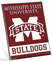 "Mississippi State Bulldogs Logo Premium 8"" x 10"" Solid Wood Easel Sign"