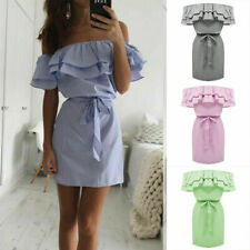 Womens Holiday Off Shoulder Bardot Mini Dress Ladies Tops Plus Size Summer Frill