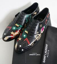 RARE SAINT LAURENT Paris MUSIC PATCHES PYTHON Oxford Dress Shoes EU-43.5 US-10.5