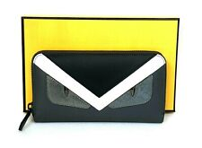 """Fendi Monster Bugs Eyes Leather Zip-around Continental Wallet """"AUTHENTIC"""" NEW"""