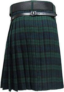 HM Men's Kilt Black Watch Tartan 8 Yard/Scottish Kilt 8 Yard Black Watch Tartan