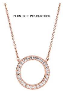 Rose Gold Silver Crystal Circle Round Necklace Pendant Designer Style