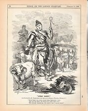 1892 Punch Cartoon Stray Sheep Old Age Pensioners Need Ancient Shepherd Morley