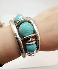 Hot New Tibet Silver Layers Bracelets Charm Turquoise Beads Bangle Women Jewelry