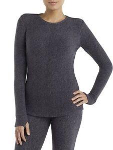 ClimateRight Cuddl Duds Stretch Fleece Long Sleeve Dark Heather Gray Shirt S