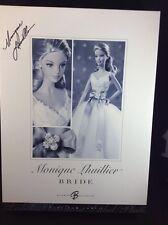 "Monique Lhuillier Bride Barbie Platinum Label.  ""MINT"" 2006 SIGNED RARE HTF"