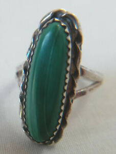Vintage Long Green Turquoise Stone Sterling Silver Ring Size 6 1/2