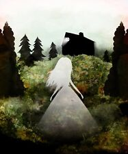 'Home' Digital collage painting artwork Photo montage art cute ghost  11x17