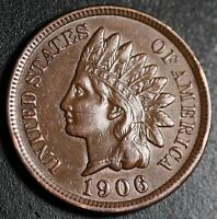 1906 INDIAN HEAD CENT - With LIBERTY & Near 4 DIAMONDS - AU UNC