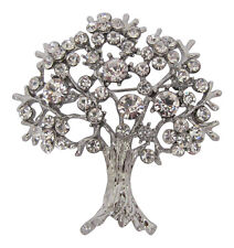 Silver Plated Diamante Crystal Tree of Life Brooch Mulberry Tree Brooch Broach
