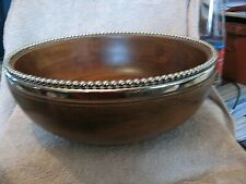 More details for very large vintage hardwood bowl with plated lip, 13 inches diameter