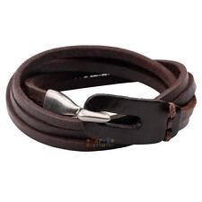 Punk Cool Men Womens Genuine Leather Belt Wrap Bracelet Cuff Wristband Bangle