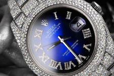 Rolex Mens Datejust II 41mm 116300 Stainless Steel Blue Vignette Roman Diamond D
