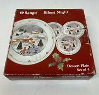"SANGO Silent Night Dessert Salad Plates Set Of 4 Christmas In Original Box 7.5"""