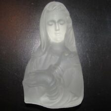 """Viking Glass Madonna Mother Mary Crystal Satin Paperweight Bookend Frosted 6.75"""""""