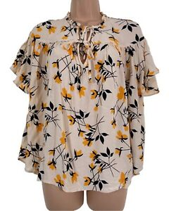 Cream oriental floral print short sleeve loose fit blouse top size 14