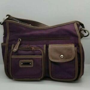 Purple Canvas Purse Shoulder Bag Satchel W/Lots Of Pockets