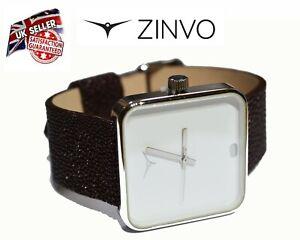 ZINVO Unisex Ladies Women`s Premium Swiss Watch in Gift Box Brown Leather Strap