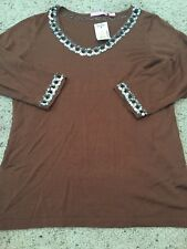 Michael Simon Studio Brown Sequined Knit Blouse Sz Medium Nwt