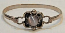 Vintage Mexican Sterling Silver & Center Round Stone Bracelet