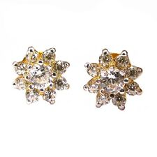 Charming CZ Studded EAR Studs PAIR 14k Solid Real Gold Screw Back