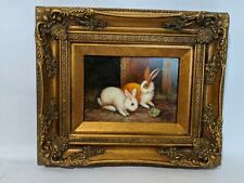 Ornate Framed Oil Painting, Hand Painted,  Painting 7x5 inches, Rabbit, Bunny