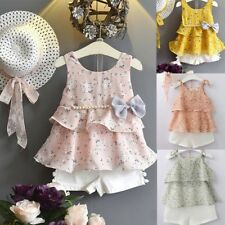 3PCS Toddler Baby Kid Girl Outfits Floral Vest T-shirt+Pants+Sun Hat Ruffles