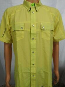 Huk Next Level Yellow Short Sleeve Fishing Shirt Sz L Slim Fit New
